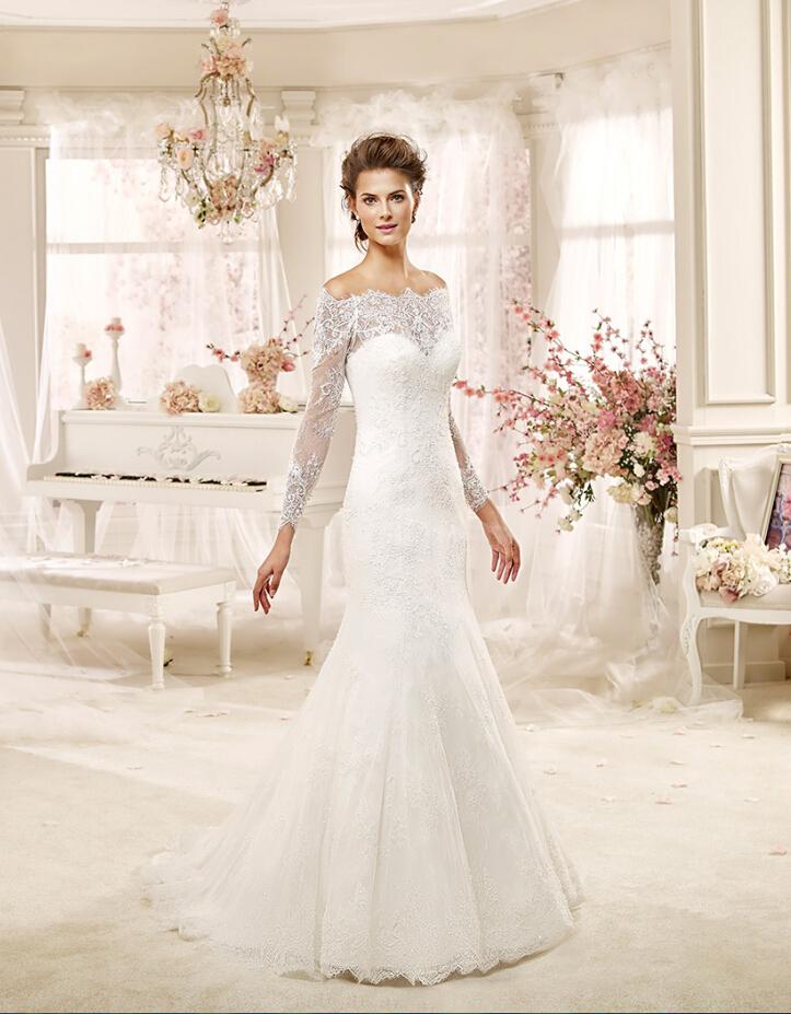 Elegant Off The Shoulder Long Sleeved Lace Detail TulleTrumpet Wedding Dress
