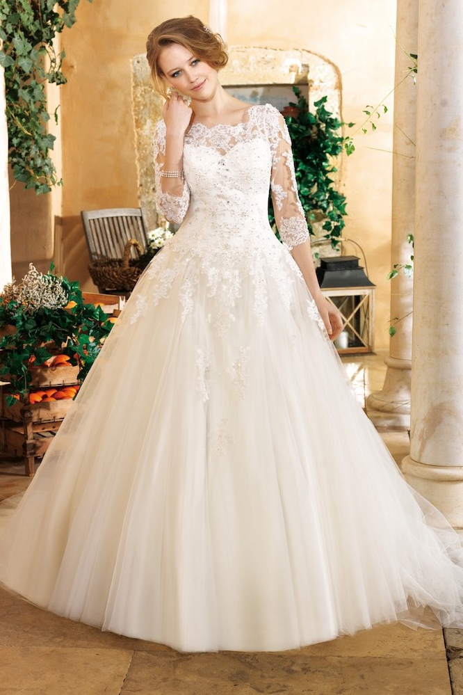 Generous A-line Scoop Illusion Neck Lace Appliques Sweep/Brush Train Tulle Wedding Dress