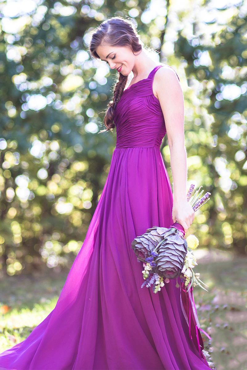 One Shoulder Pleated Chiffon Natural Floor-length A-line Country Bridesmaid Dresses