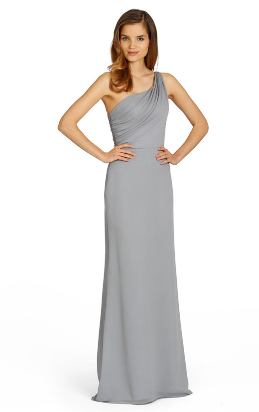 Sleeveless One Shoulder Chiffon Natural Floor-length Bridesmaid Dresses