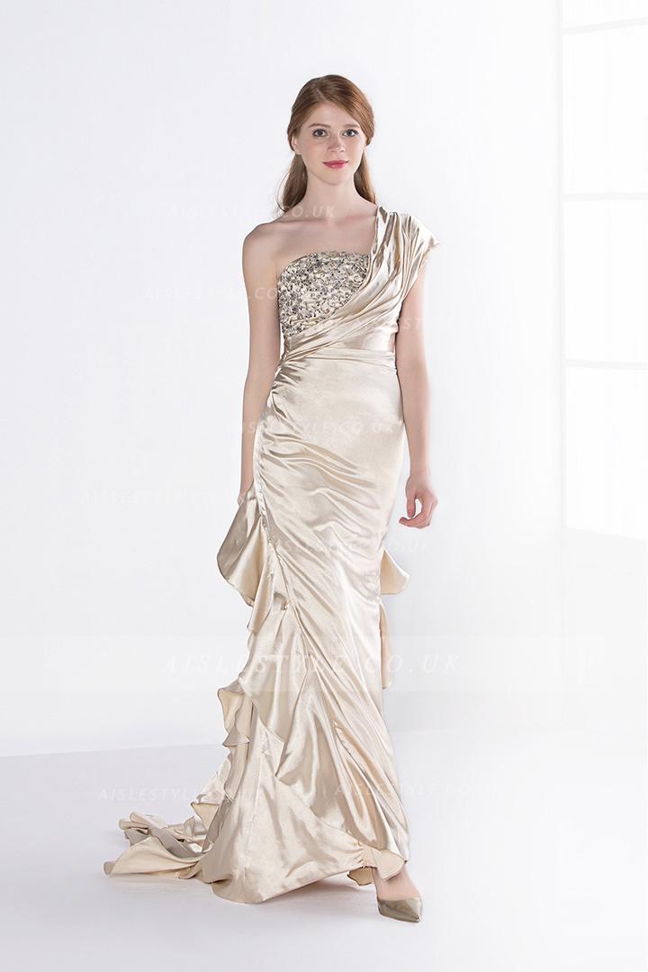 Cascading Beading A-line One Shoulder Crystal Detailing Floor-length Chiffon Evening Dresses