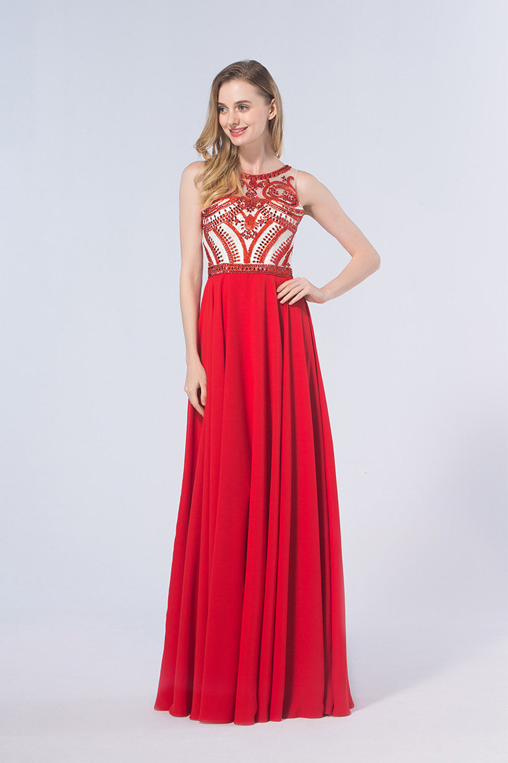 Sparklly Beading A-line Sleeveless Long Red Chiffon Prom Dress