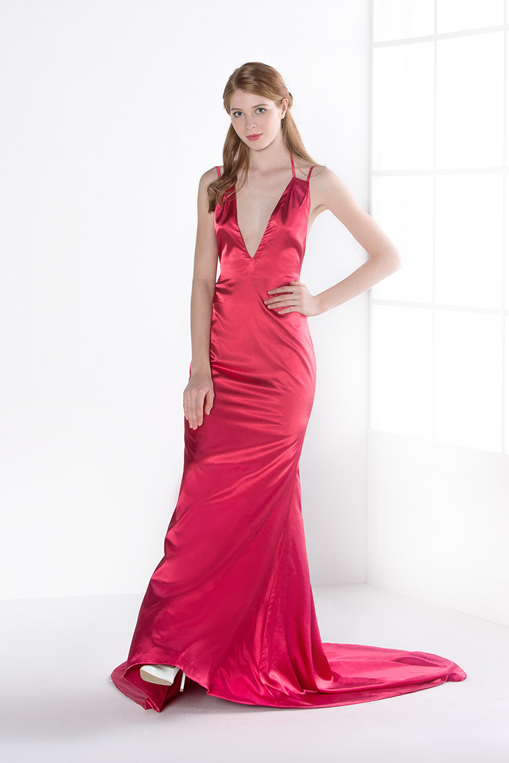 A-line V-neck Sleeveless Pleated Long Evening Dresses