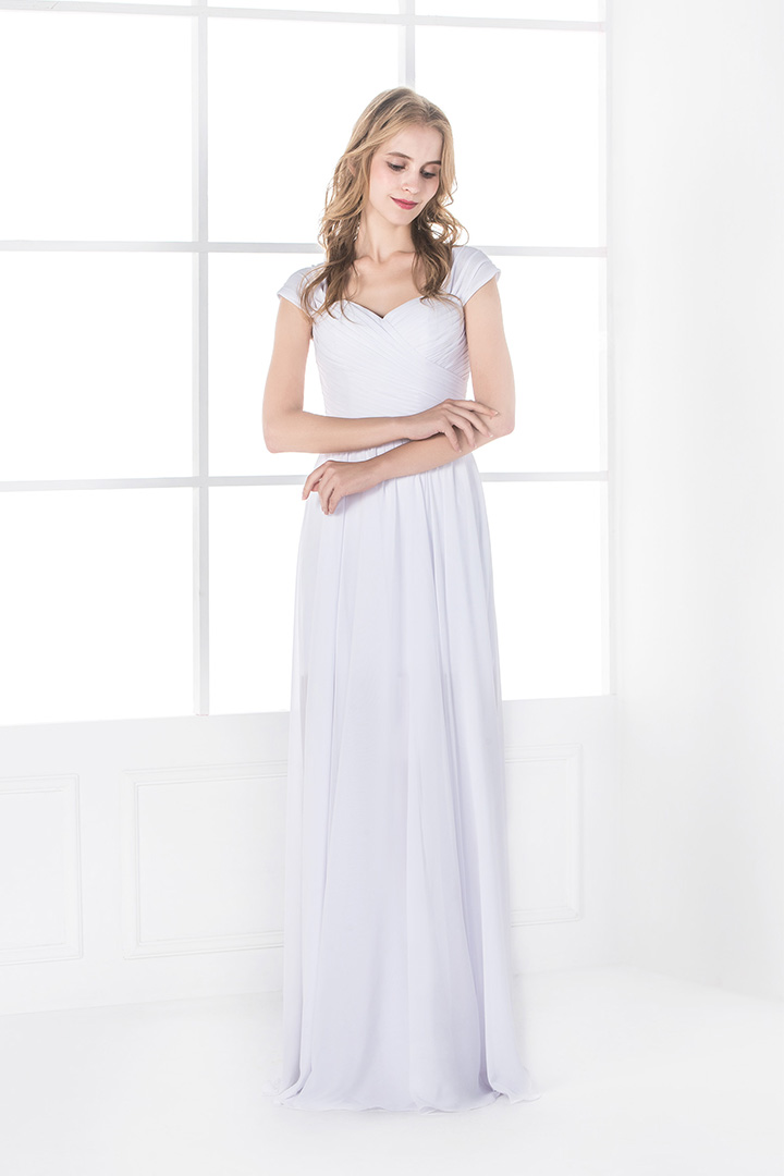 A-line Shoulder Straps Pleated Long Chiffon Prom Dress