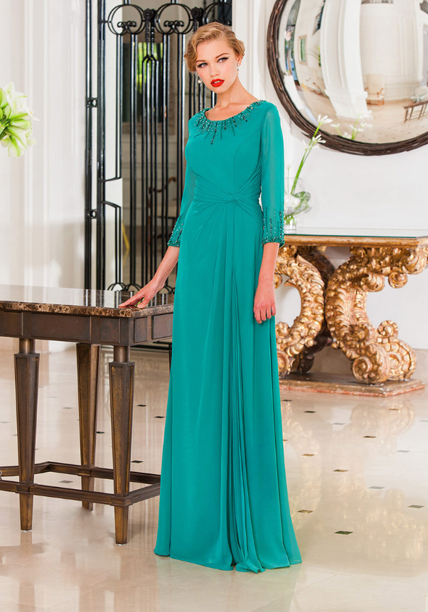 Elegant 3/4 Sleeve Long A-line Chiffon Evening Dress