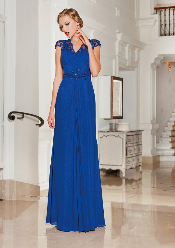 Lace Cap Sleeve V Neck A-line Long Royal Blue Chiffon Evening Dress