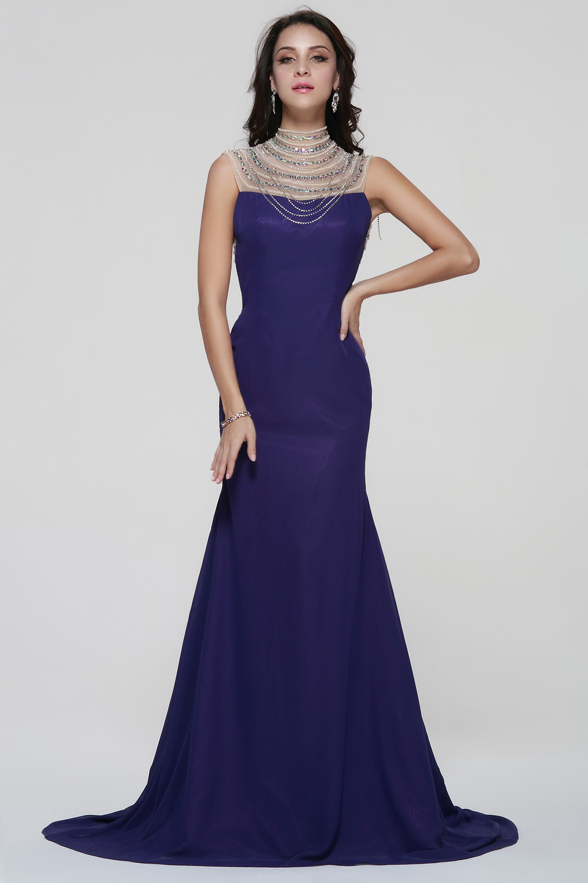 Backless Beading Trumpet Long Royal Blue Chiffon Evening Dress