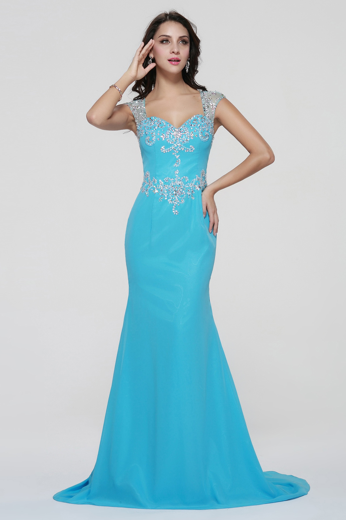 Beading Cap Sleeve Trumpet Long Blue Chiffon Evening Dress