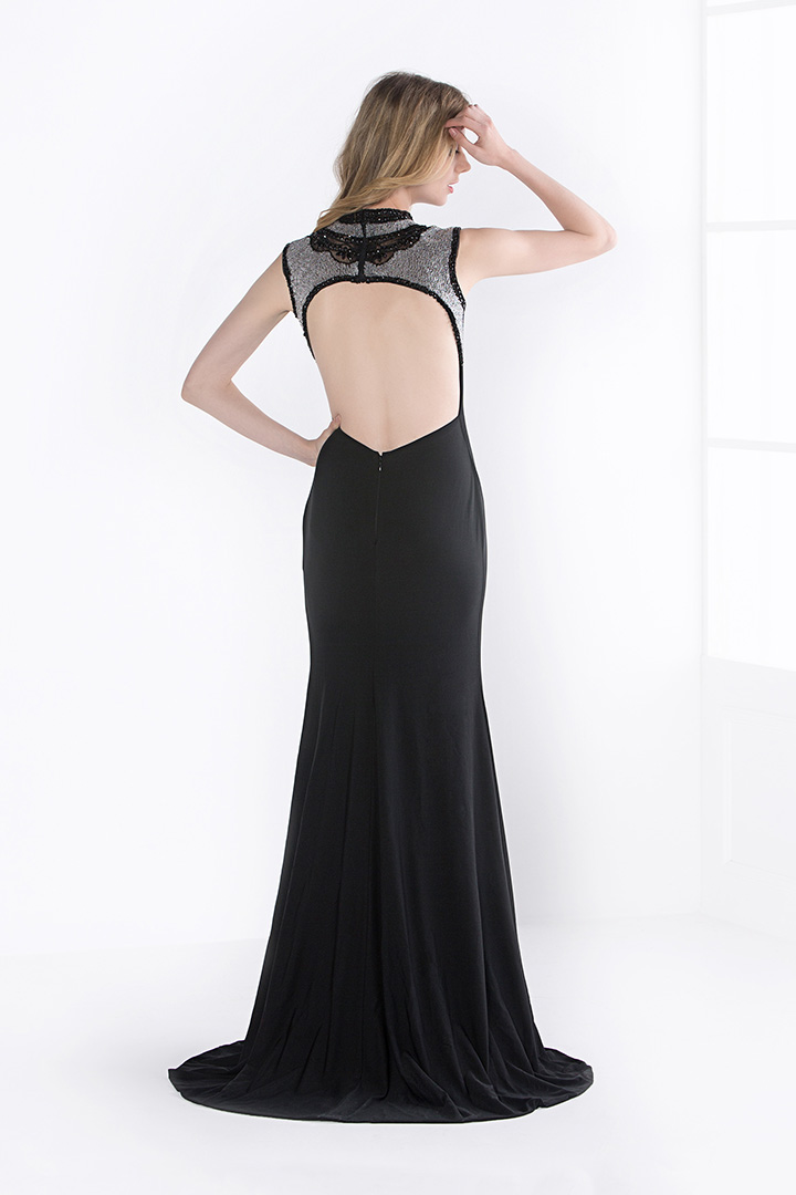 Sleeveless Keyhole Back Long Split Black Jersey Evening Dress with Beading