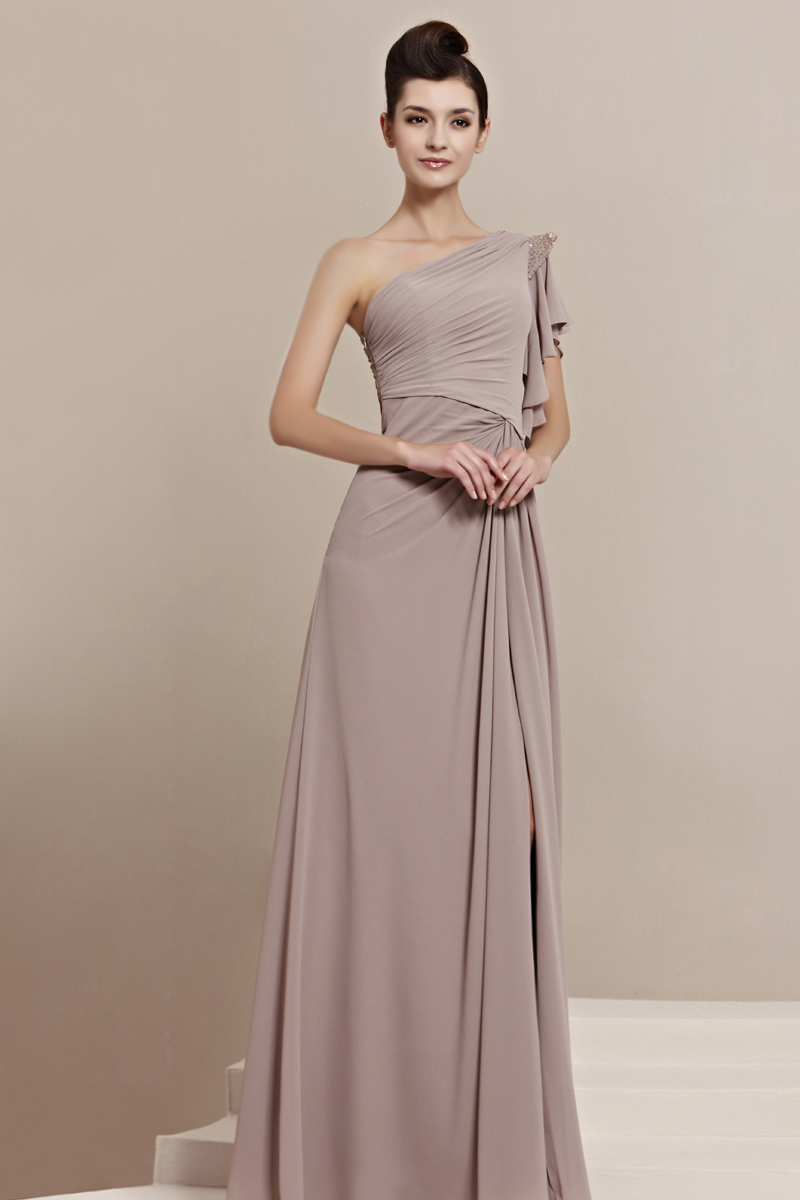 A-line One Shoulder Beading Side-Draped Split Front Floor-length Chiffon Evening Dresses