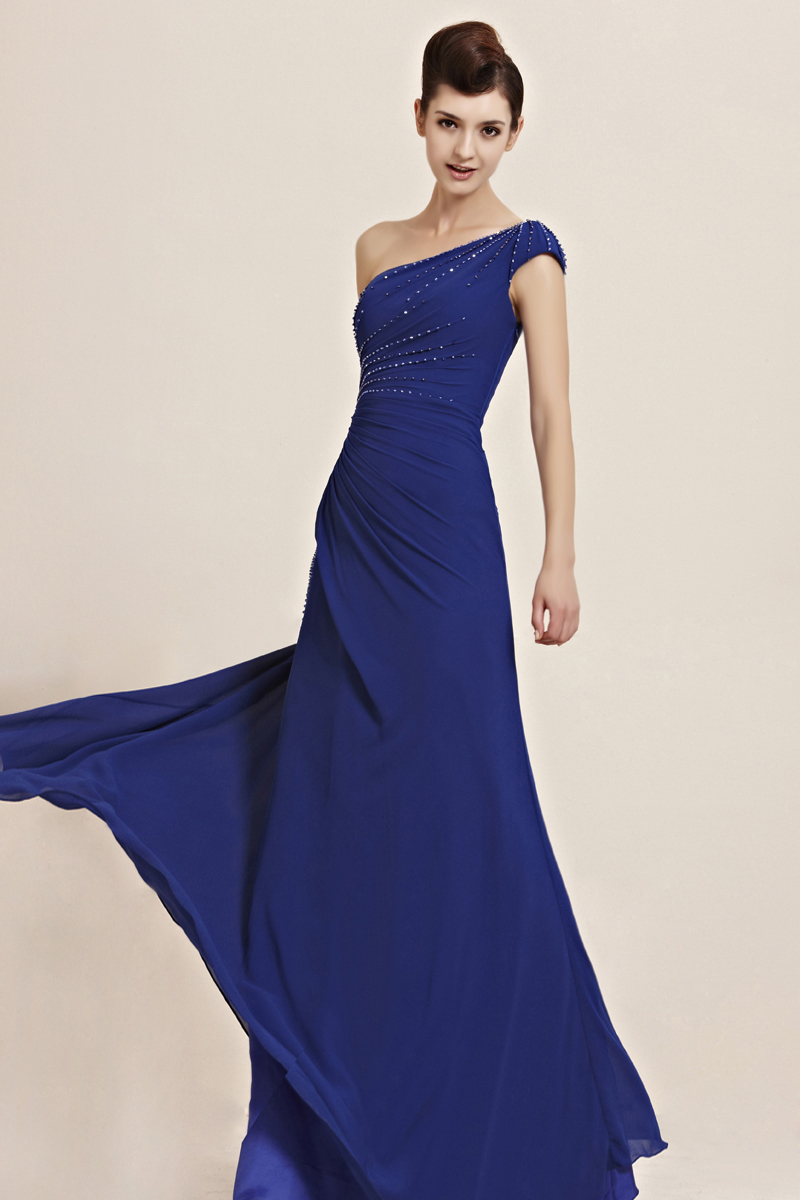 Beautiful A-line One Shoulder Beading Side-Draped Floor-length Chiffon Evening Dresses