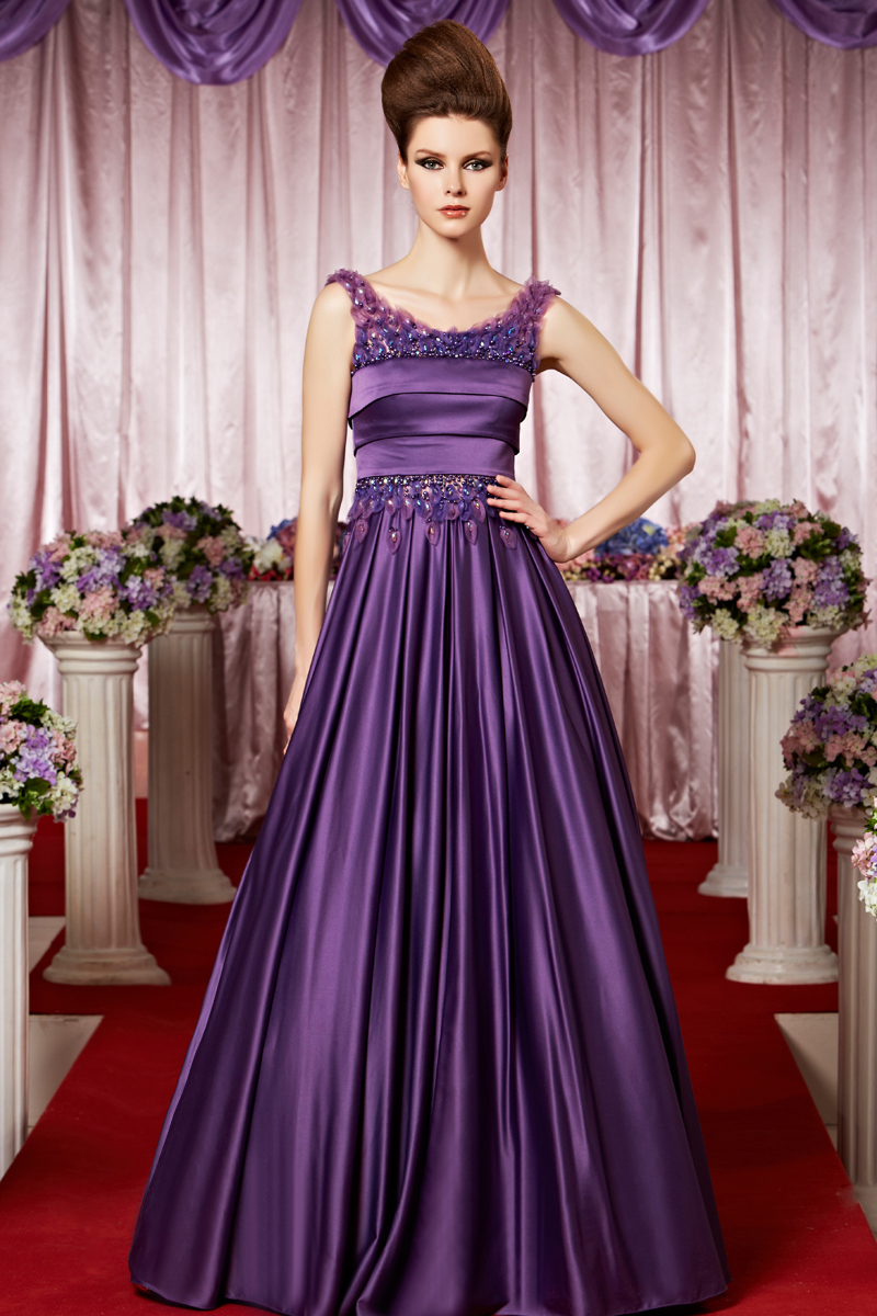 Beautiful A-line Princess Scoop Appliques Pearl Detailing Pleated Floor-length Stretch Satin Evening Dresses