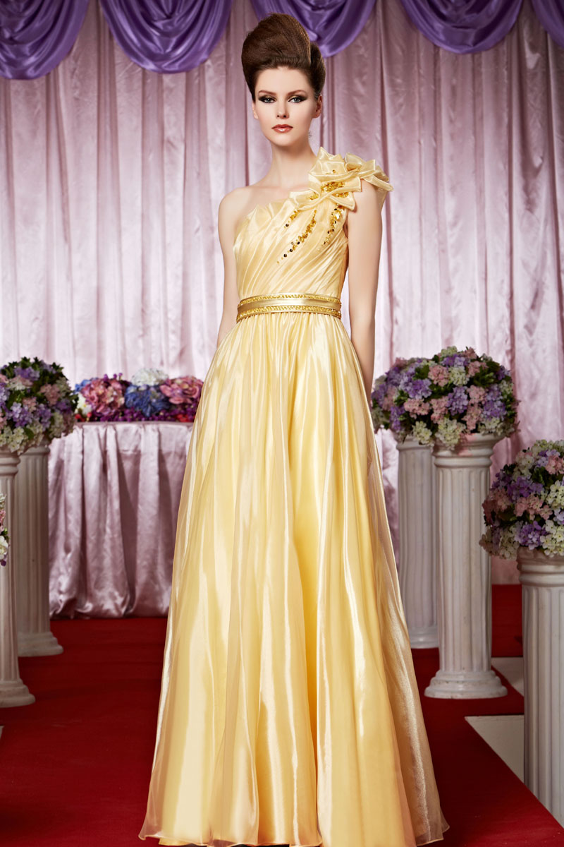 Honorable A-line One Shoulder Sleeveless Beading Draping Ruffles Sequins Floor-length Organza Evening Dresses