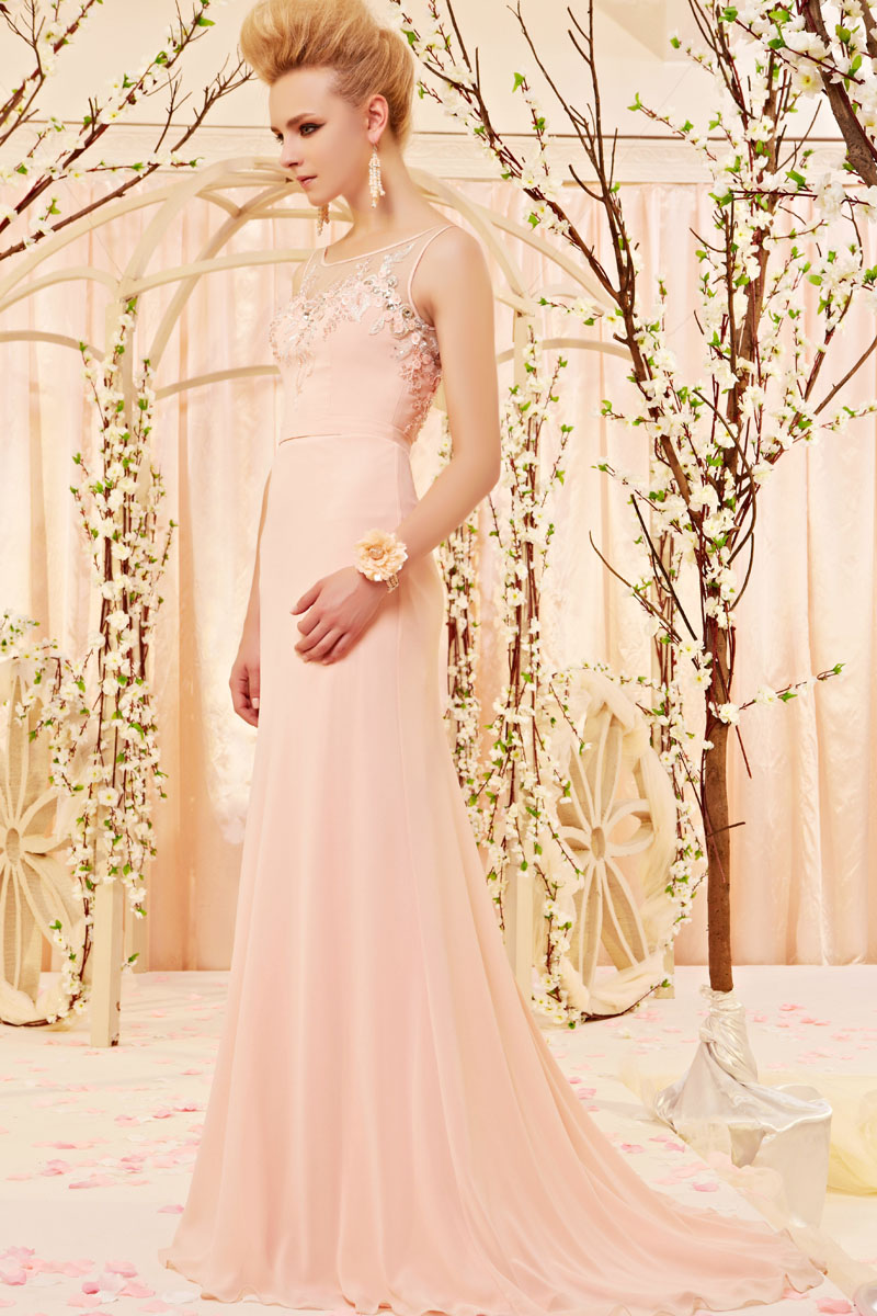Sheath/Column Bateau Sleeveless Appliques Beading Sweep/Brush Train Chiffon Evening Dresses