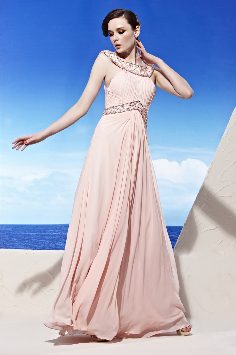 Beautiful A-line Bateau Sleeveless Beading Ruffles Pink Floor-length Chiffon Evening Dresses