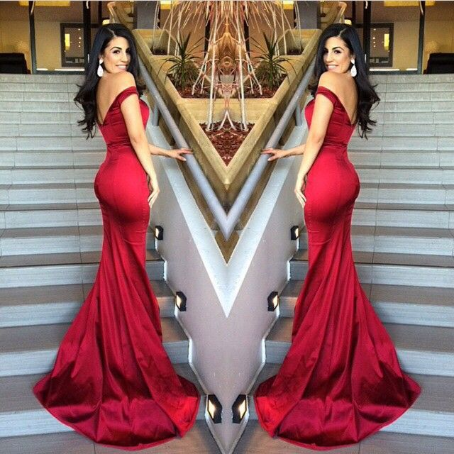Off the Shoulder Bodyhugging Long Stretch Satin Formal Evening Dress