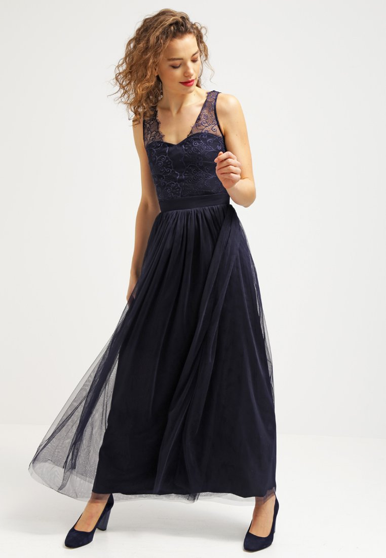 Long Sleeveless V Neck A-line Navy Lace Tulle Evening Dress