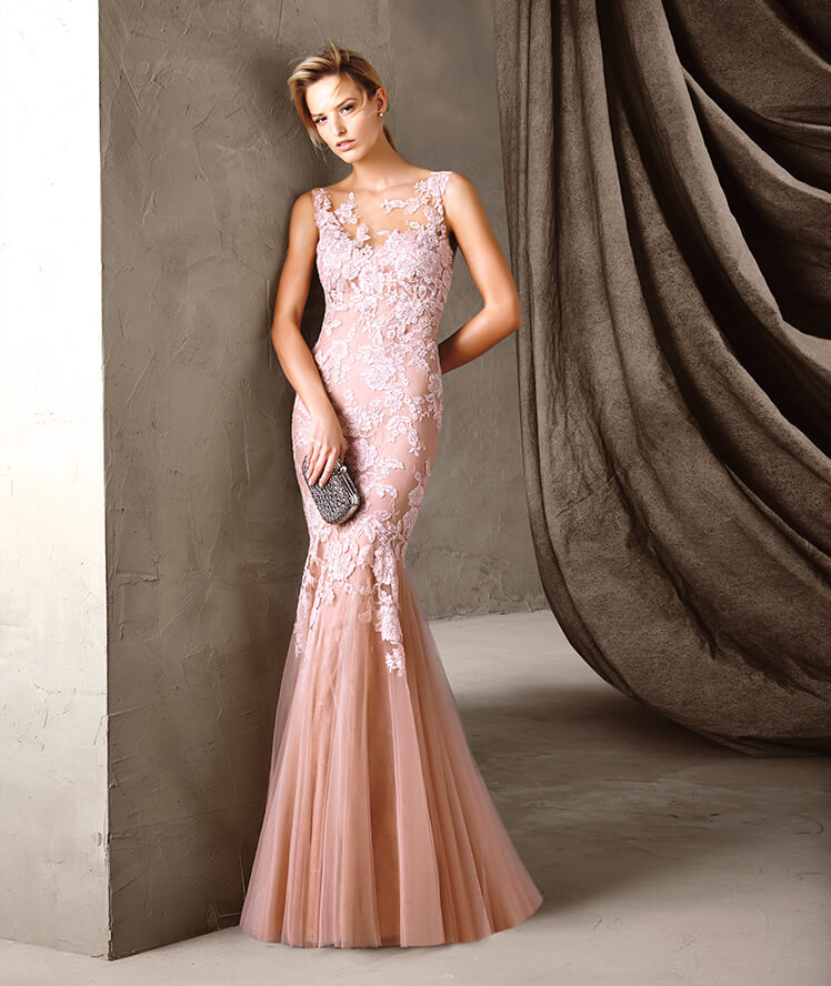 Trumpet/Mermaid Bateau Sleeveless Appliques Lace Floor-length Long Tulle Evening Dresses
