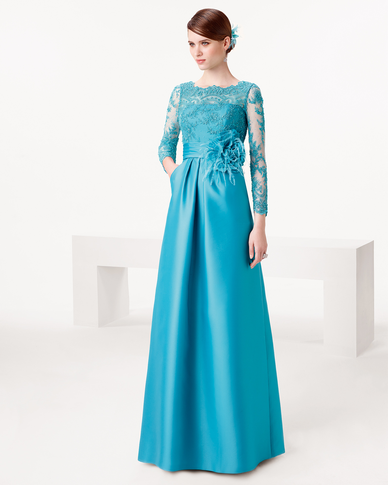 A-line Bateau 3/4 Length Sleeve Appliques Lace Hand Made Flowers Floor-length Long Satin Evening Dresses
