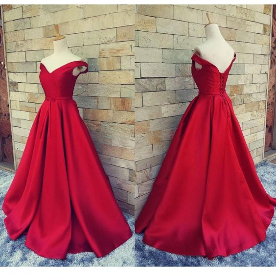 A-line Shoulder Straps Pleated Floor-length Red Satin Evening Dress