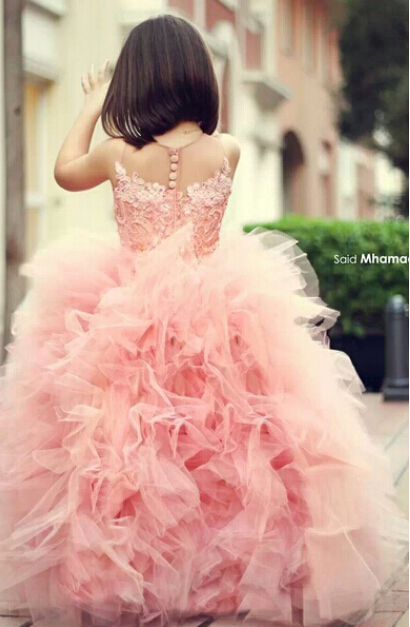 Sleeveless Jewel Neck Lace Bodice Ball Gown Ruffled Tulle Pink Flower Girl Dress
