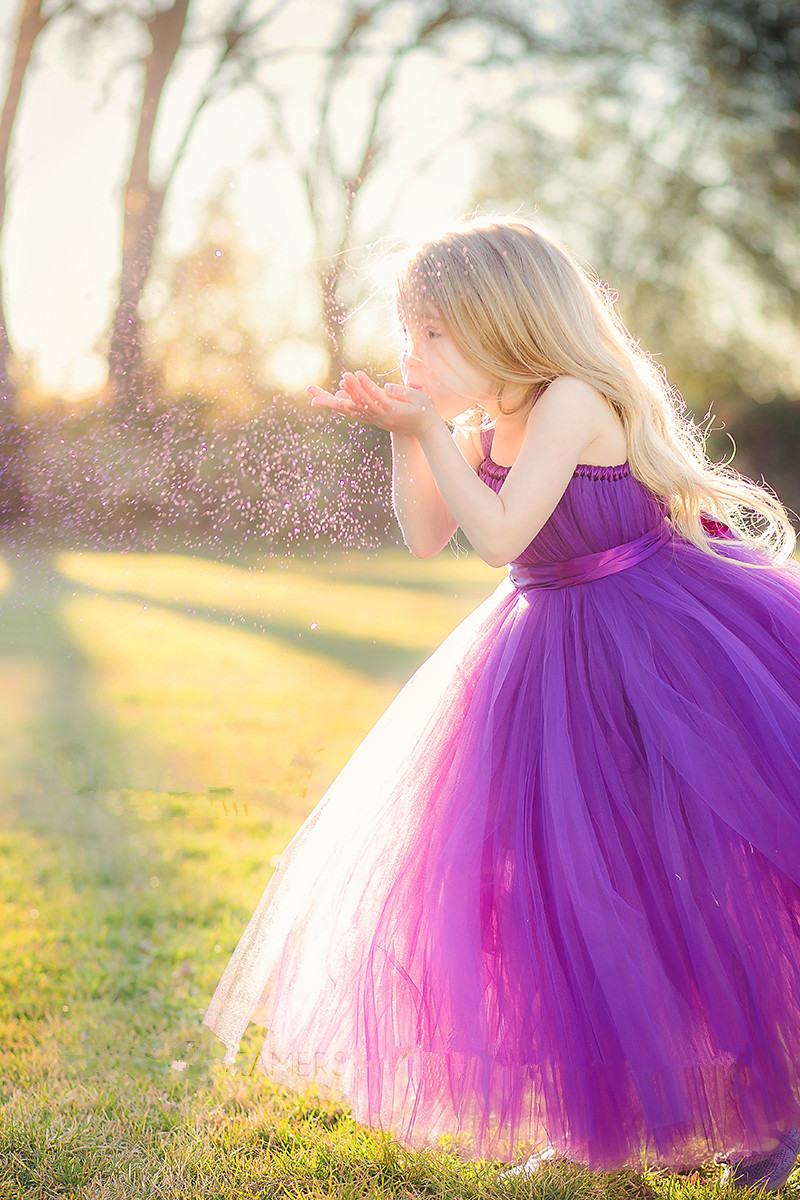 Shoulder Straps Ball Gown Tulle Flower Girl Dress with Ribbon