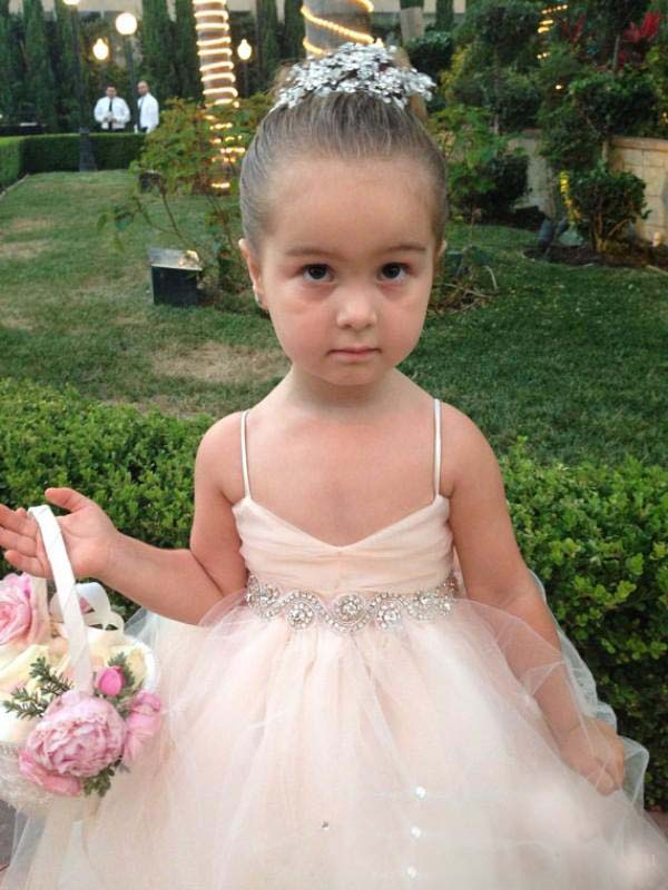 Spaghetti Straps Pale Pink Ruched Bodice Ball Gown Tulle Flower Girl Dress with Beaded Waist