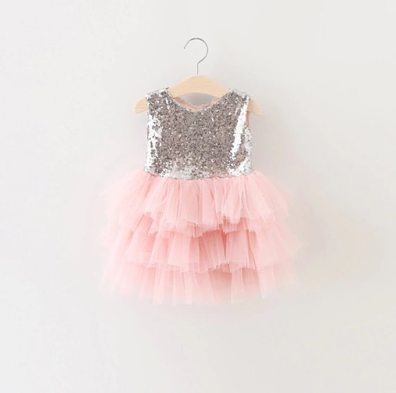 Sleeveless Sequin Bodice A-line Tiered Tulle Flower Girl Dress
