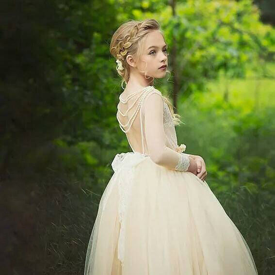 Long Sleeve Lace Appliques Ball Gown Tulle Flower Girl Dress