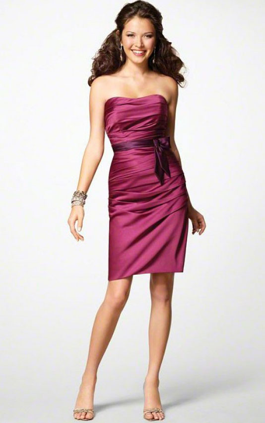 Knee-length Strapless Sleeveless Sheath Natural Bridesmaid Dresses