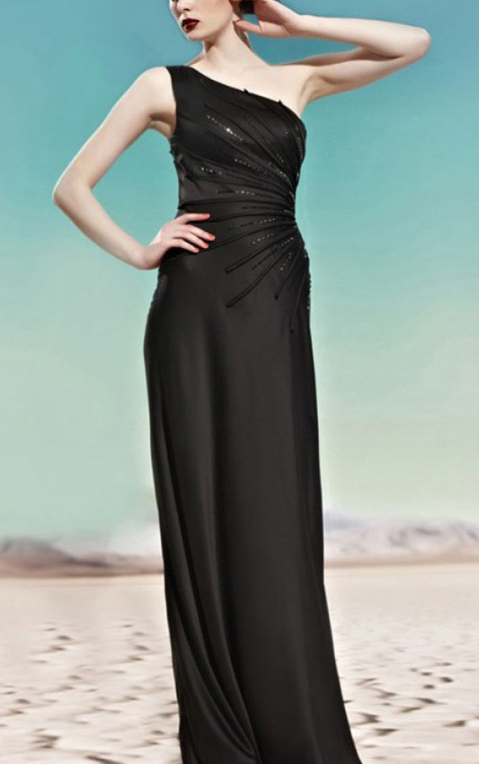 Floor-length Sleeveless One Shoulder Prom Dress with Sequins