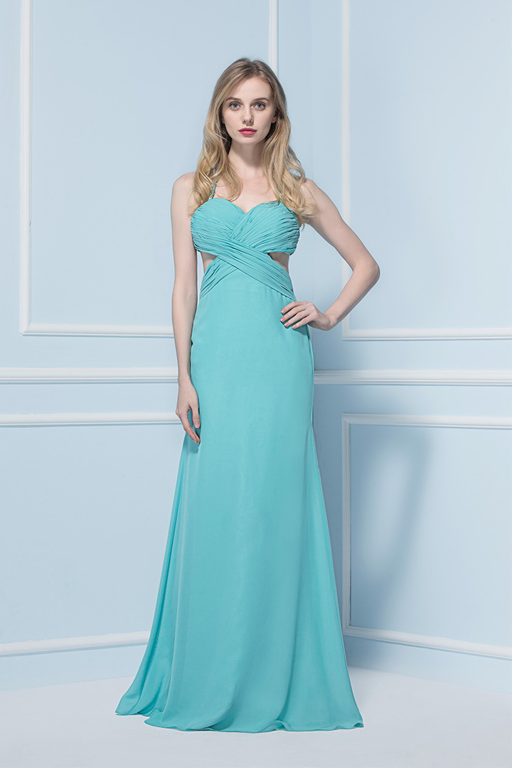 Sexy Shoulder Straps Beading Empire A-line Long Chiffon Bridesmaid Dress