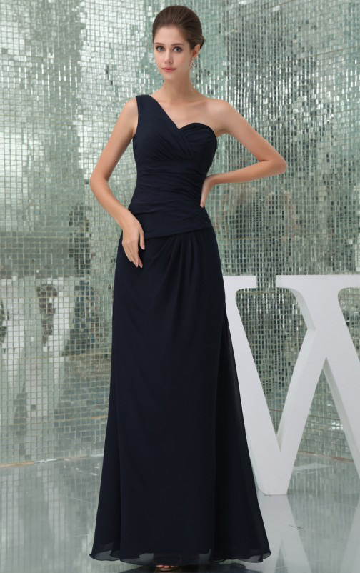 Natural None Floor-length One Shoulder Chiffon Bridesmaid Dresses