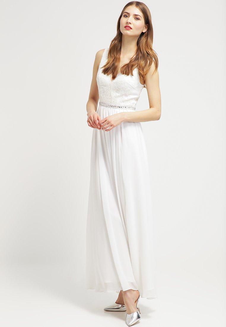 Sleeveless V Neck A Line Long Chiffon Lace Bodice Wedding Dress With Crystal Band