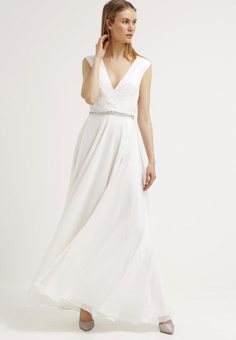 Sleeveless V Neck A Line Chiffon Wedding Dress With Crystal Band