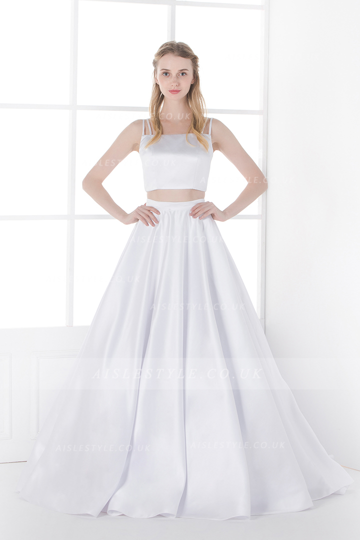 Modern Two Piece A-line Spaghetti Straps A-line White Satin Simple Wedding Dress