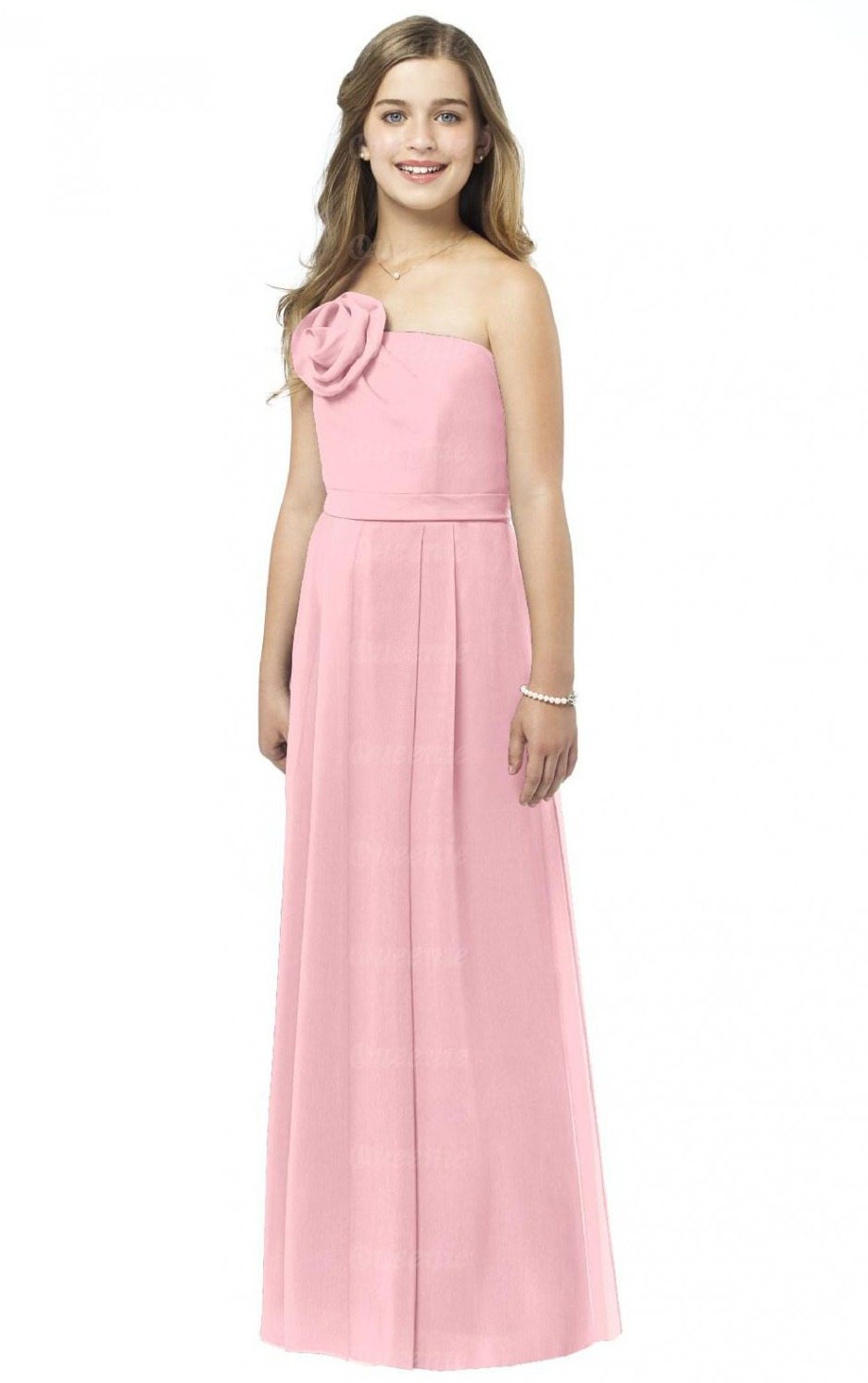 Sleeveless A-line Natural Floor-length Strapless Bridesmaid Dresses