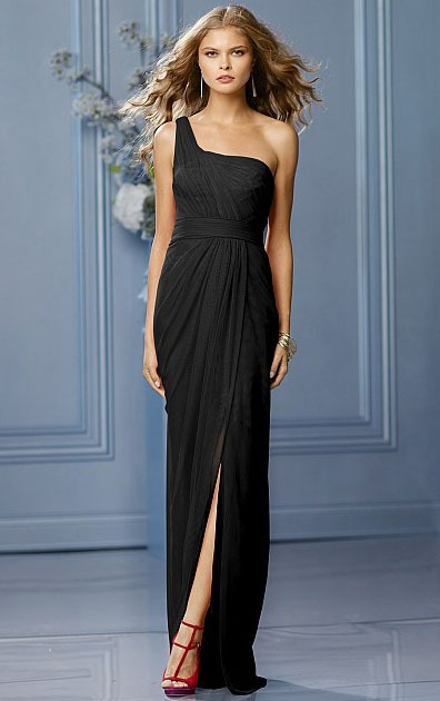 Sleeveless One Shoulder A-line Chiffon Floor-length Bridesmaid Dresses