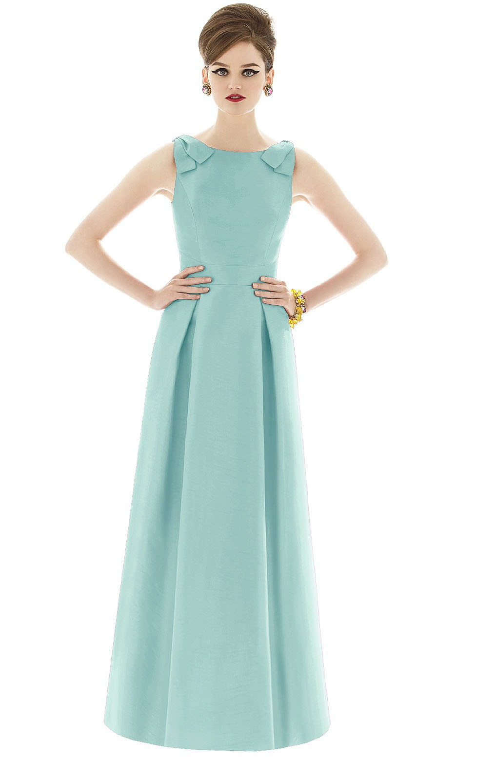 A-line Satin Sleeveless Natural Floor-length Bridesmaid Dresses