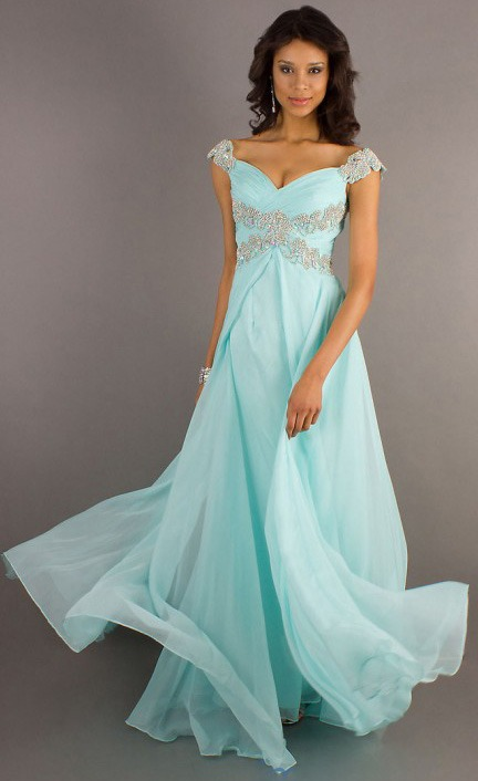 Off the Shoulder Chiffon A-line Empire Crystal Detailling Long Chiffon Prom Dress