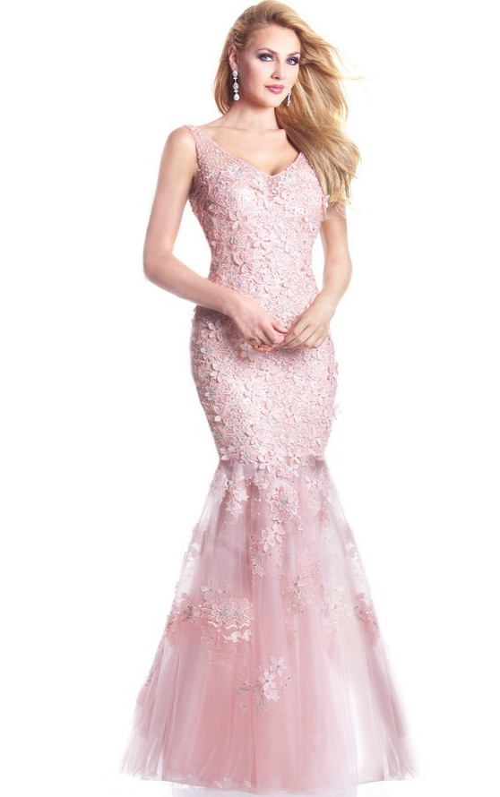 Shoulder Straps Floral Lace Detailed Mermaid Tulle Long Prom Dress