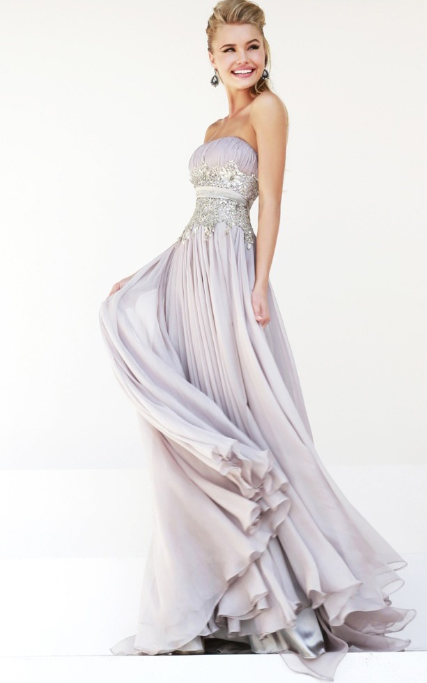 Strapless Ruched Bodice Long A-line Chiffon Prom Dress with Lace Appliques