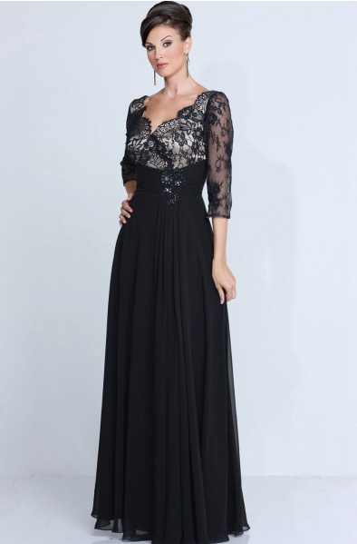 Scalloped V Neck 3/4 Sleeves Long A-line Chiffon Mother of the Bride Dress