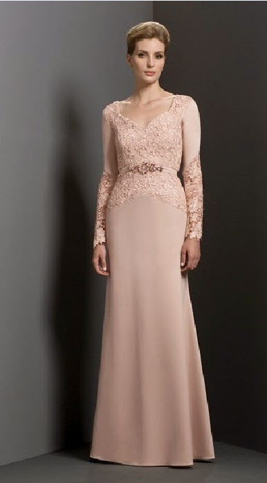 Modest Blush Long Sleeve A-line Long Chiffon Mother of the Bride Dress with Crystal