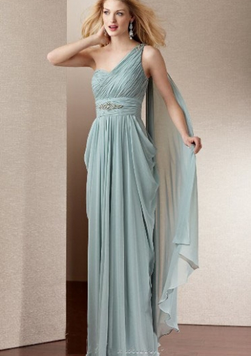 Sleeveless One Shoulder Cascading Long Chiffon Mother of Bride Dress