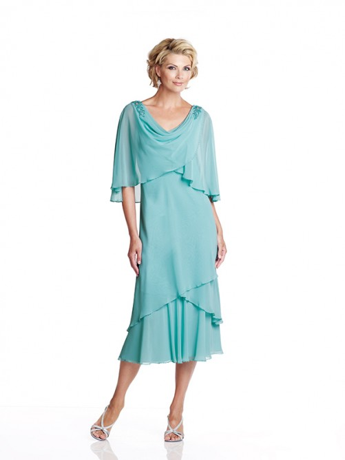 Scoop Neck Tea Length Chiffon Mother of the Bride Dress