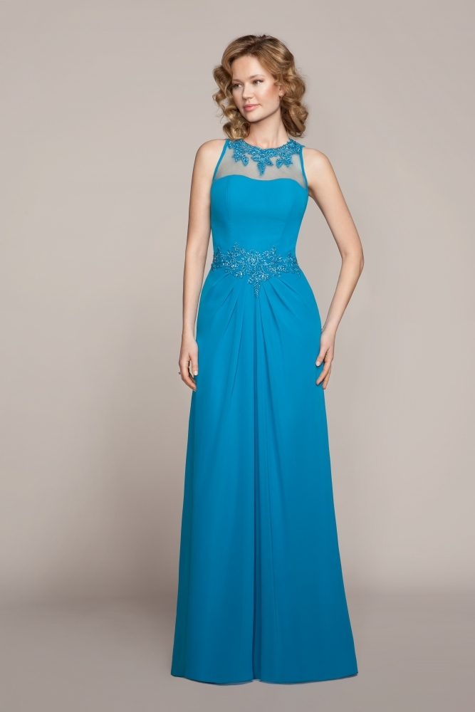 Illusion Jewel Neck Lace Appliques Long Chiffon Bridesmaid Dress