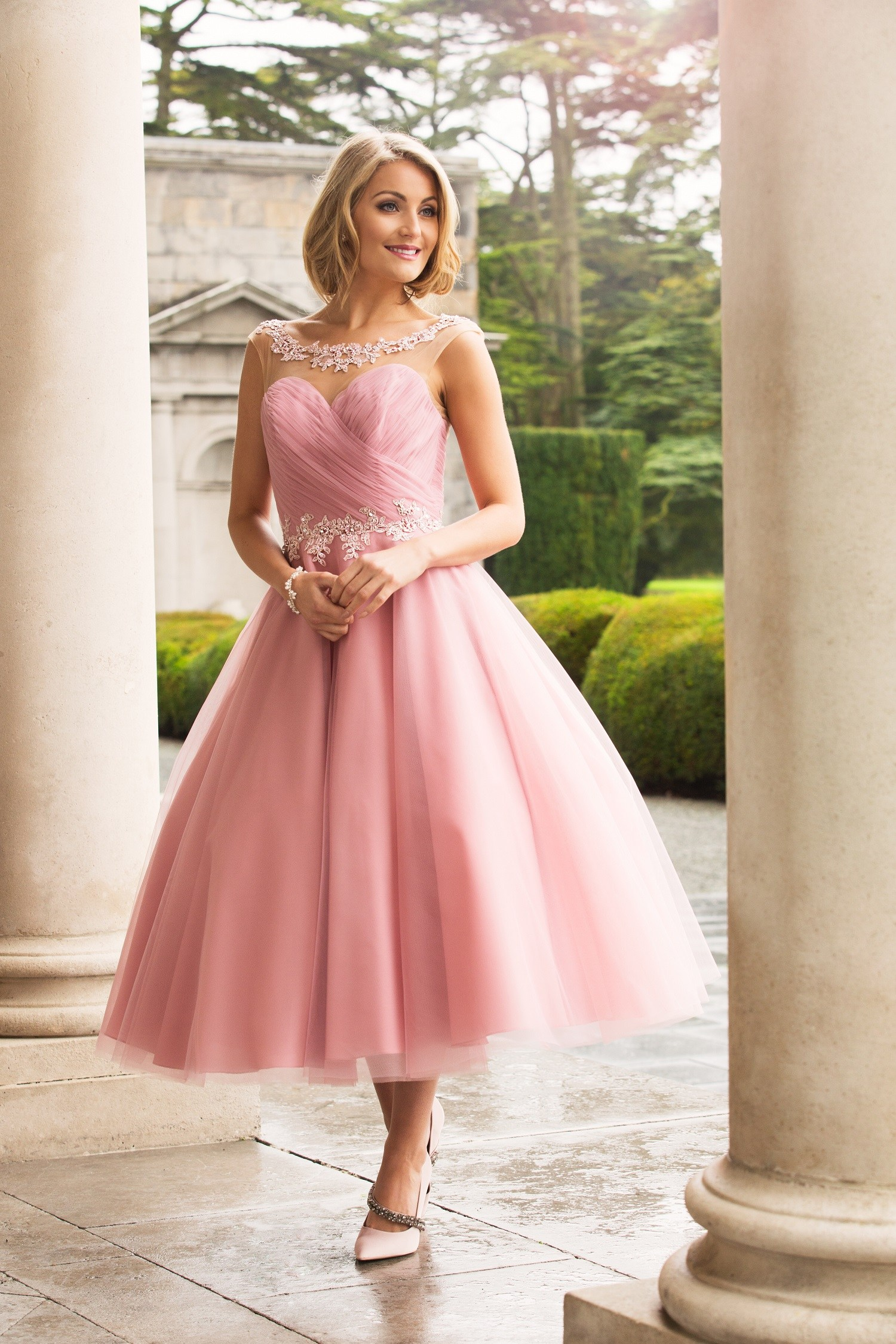 Tea Length A line Pink Tulle Bridesmaid Dress with Lace