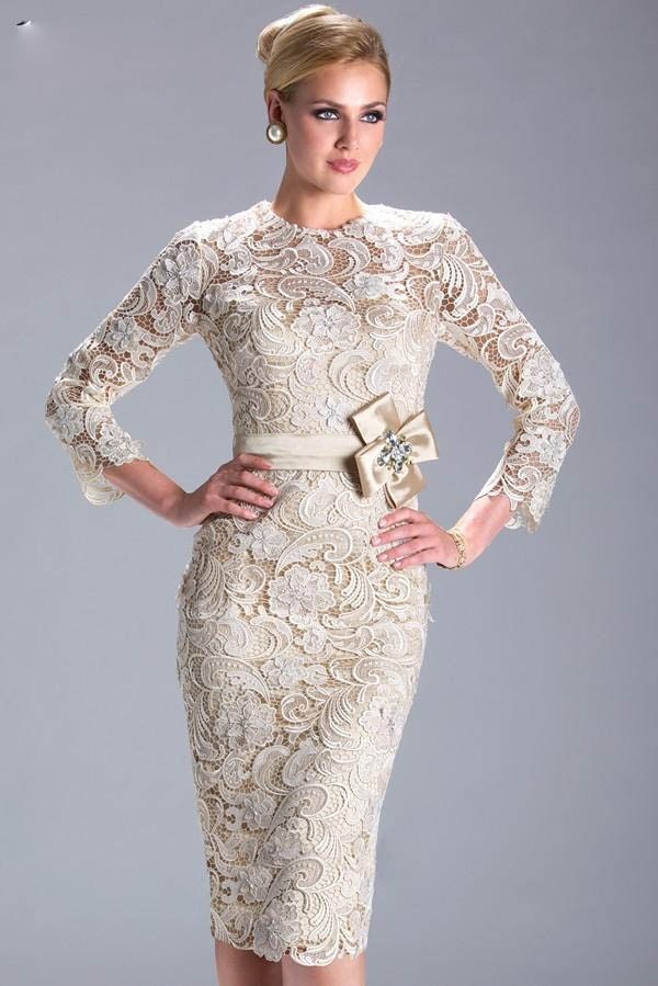 Jewel Neck Lace Sheath Mother of the Bride Dress with Sash