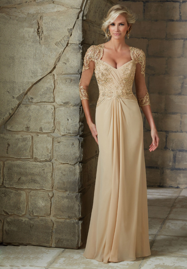 3/4 Beaded Lace Bodice Sheath Chiffon Mother of the Bride Dress